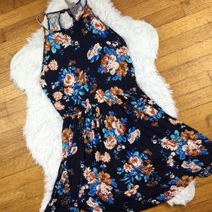 ASOS halter pleated floral blue dress open back 8